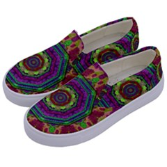 Mandala In Heavy Metal Lace And Forks Kids  Canvas Slip Ons by pepitasart