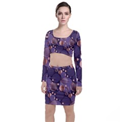 Random Polka Dots, Fun, Colorful, Pattern,xmas,happy,joy,modern,trendy,beautiful,pink,purple,metallic,glam, Long Sleeve Crop Top & Bodycon Skirt Set