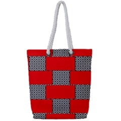 Black And White Red Patterns Full Print Rope Handle Bag (small)