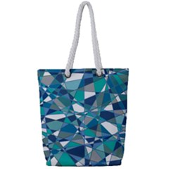 Abstract Background Blue Teal Full Print Rope Handle Bag (small) by Celenk