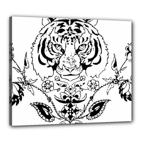 Tiger Animal Decoration Flower Canvas 24  X 20