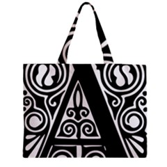 Alphabet Calligraphy Font A Letter Medium Tote Bag by Celenk
