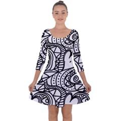 Seamless Tile Background Abstract Quarter Sleeve Skater Dress
