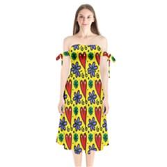 Seamless Tile Repeat Pattern Shoulder Tie Bardot Midi Dress