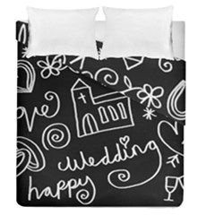 Wedding Chalkboard Icons Set Duvet Cover Double Side (queen Size) by Celenk