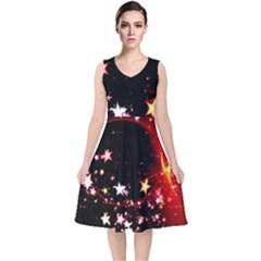 Circle Lines Wave Star Abstract V Neck Midi Sleeveless Dress
