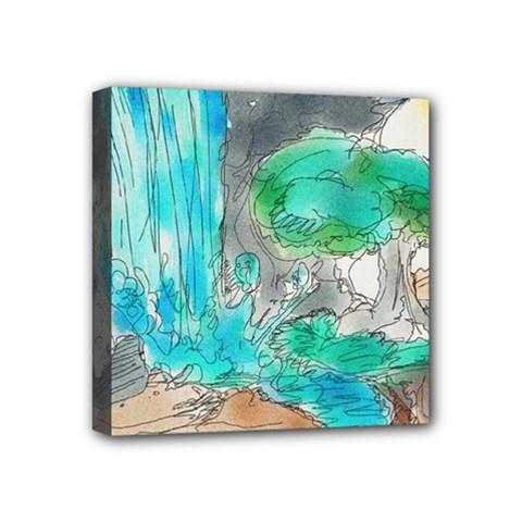 Doodle Sketch Drawing Landscape Mini Canvas 4  X 4