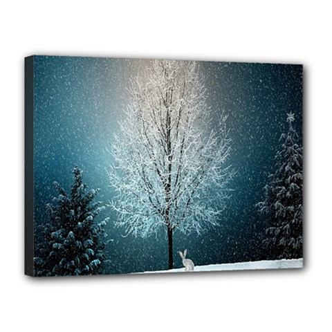 Winter Wintry Snow Snow Landscape Canvas 16  X 12  by Celenk