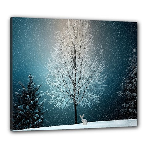 Winter Wintry Snow Snow Landscape Canvas 24  X 20  by Celenk
