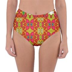 Abstract Background Pattern Doodle Reversible High Waist Bikini Bottoms