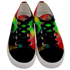 Circle Lines Wave Star Abstract Men s Low Top Canvas Sneakers
