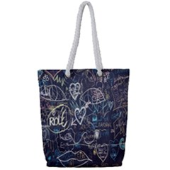 Graffiti Chalkboard Blackboard Love Full Print Rope Handle Bag (small)
