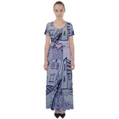 Doodle Drawing Texture Style High Waist Short Sleeve Maxi Dress