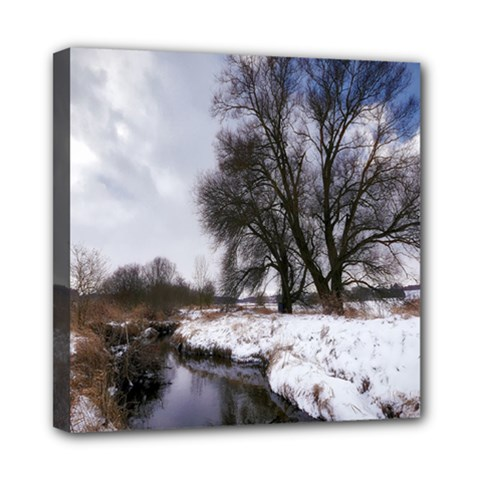 Winter Bach Wintry Snow Water Mini Canvas 8  X 8  by Celenk