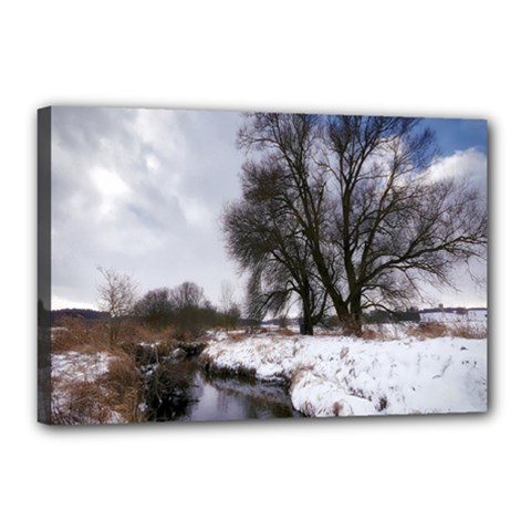 Winter Bach Wintry Snow Water Canvas 18  X 12  by Celenk