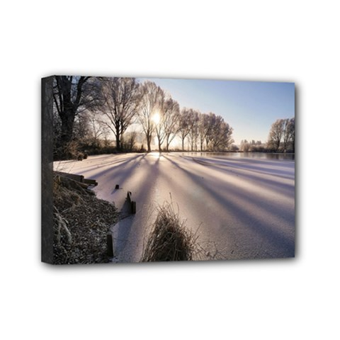 Winter Lake Cold Wintry Frozen Mini Canvas 7  X 5  by Celenk