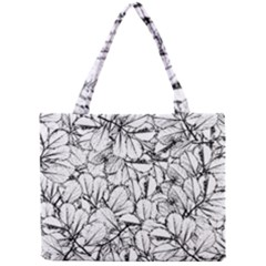 White Leaves Mini Tote Bag by SimplyColor