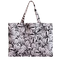 White Leaves Zipper Mini Tote Bag by SimplyColor