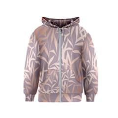 Rose Gold, Asian,leaf,pattern,bamboo Trees, Beauty, Pink,metallic,feminine,elegant,chic,modern,wedding Kids  Zipper Hoodie