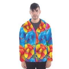 Neon Colored Floral Pattern Hooded Wind Breaker (men) by allthingseveryone