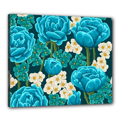Light Blue Roses And Daisys Canvas 24  X 20  by AllThingsEveryone