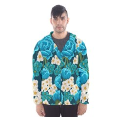 Light Blue Roses And Daisys Hooded Wind Breaker (men) by AllThingsEveryone