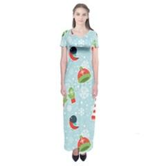 Winter Fun Pattern Short Sleeve Maxi Dress
