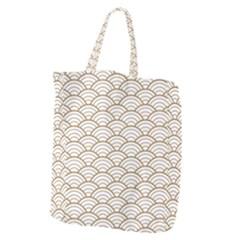 Art Deco,japanese Fan Pattern, Gold,white,vintage,chic,elegant,beautiful,shell Pattern, Modern,trendy Giant Grocery Zipper Tote by 8fugoso
