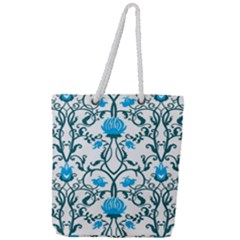 Art Nouveau, Art Deco, Floral,vintage,blue,green,white,beautiful,elegant,chic,modern,trendy,belle ¨|poque Full Print Rope Handle Tote (large) by 8fugoso