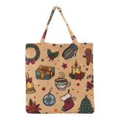 Cute Vintage Christmas Pattern Grocery Tote Bag by AllThingsEveryone