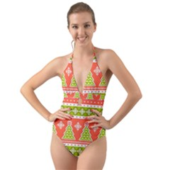 Christmas Tree Ugly Sweater Pattern Halter Cut Out One Piece Swimsuit