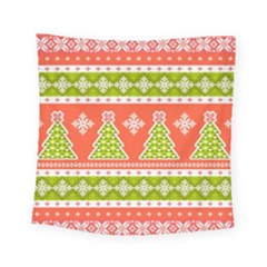 Christmas Tree Ugly Sweater Pattern Square Tapestry (small) by allthingseveryone