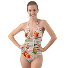 The Joys Of Christmas Halter Cut Out One Piece Swimsuit by AllThingsEveryone