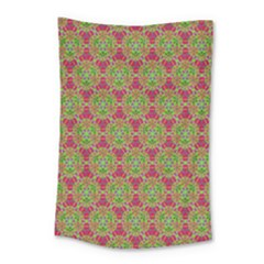 Red Green Flower Of Life Drawing Pattern Small Tapestry by Cveti
