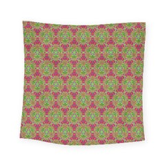 Red Green Flower Of Life Drawing Pattern Square Tapestry (small) by Cveti