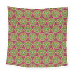 Red Green Flower Of Life Drawing Pattern Square Tapestry (large) by Cveti