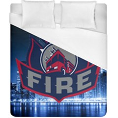 Chicago Fire With Skyline Duvet Cover (california King Size)