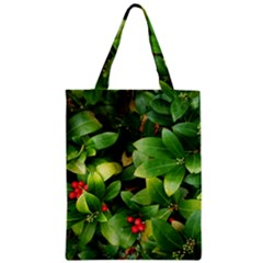 Christmas Season Floral Green Red Skimmia Flower Zipper Classic Tote Bag by yoursparklingshop