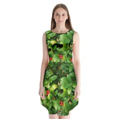 Christmas Season Floral Green Red Skimmia Flower Sleeveless Chiffon Dress   by yoursparklingshop
