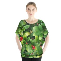 Christmas Season Floral Green Red Skimmia Flower Blouse by yoursparklingshop