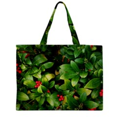 Christmas Season Floral Green Red Skimmia Flower Zipper Medium Tote Bag by yoursparklingshop