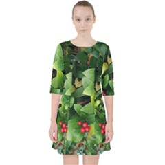 Christmas Season Floral Green Red Skimmia Flower Pocket Dress by yoursparklingshop