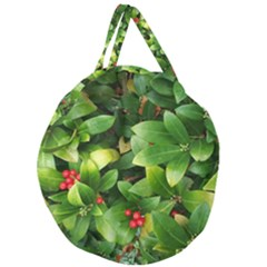 Christmas Season Floral Green Red Skimmia Flower Giant Round Zipper Tote by yoursparklingshop