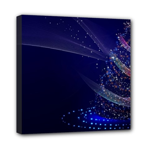 Christmas Tree Blue Stars Starry Night Lights Festive Elegant Mini Canvas 8  X 8  by yoursparklingshop