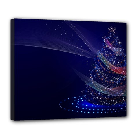 Christmas Tree Blue Stars Starry Night Lights Festive Elegant Deluxe Canvas 24  X 20   by yoursparklingshop