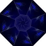 Christmas Tree Blue Stars Starry Night Lights Festive Elegant Hook Handle Umbrellas (Medium)