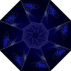 Christmas Tree Blue Stars Starry Night Lights Festive Elegant Hook Handle Umbrellas (large) by yoursparklingshop