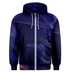 Christmas Tree Blue Stars Starry Night Lights Festive Elegant Men s Zipper Hoodie by yoursparklingshop