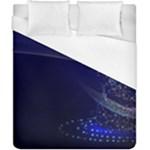 Christmas Tree Blue Stars Starry Night Lights Festive Elegant Duvet Cover (California King Size)