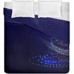 Christmas Tree Blue Stars Starry Night Lights Festive Elegant Duvet Cover Double Side (King Size)